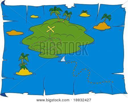 Cartoon illustration of treasure map
