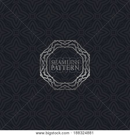 Vector seamless elegant pattern for package or textile design. Black seamless wallpaper with vintage silver ornate frame. Art-deco background with trellis texture