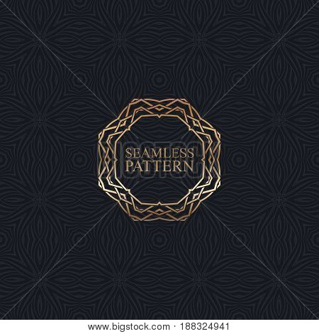 Vector seamless elegant pattern for package or textile design. Black seamless wallpaper with vintage metallic ornate frame. Art-deco background with trellis texture