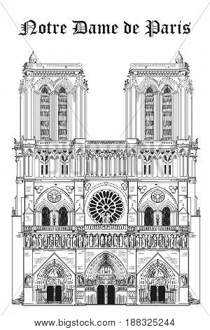 Notre Dame Cathedral (Landmark of Paris France) vector isolated hand drawing illustration in black color on white background