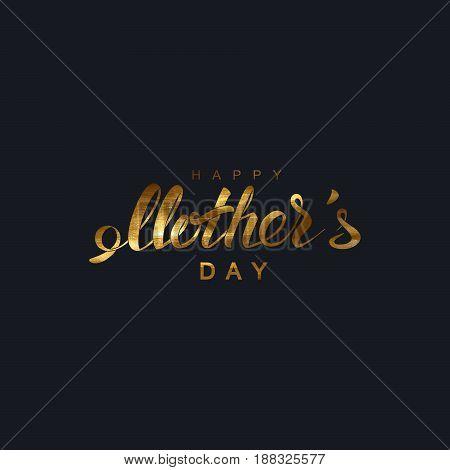 Happy Mothers Day. Vector holiday illustration of festive lettering. Golden vintage label