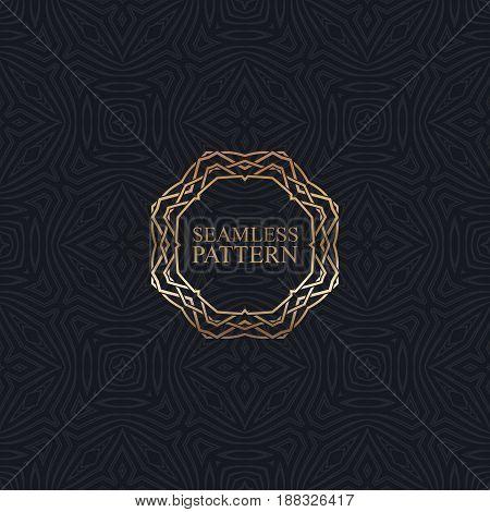 Vector seamless elegant pattern for package or fabric design. Black seamless wallpaper with golden ornate frame. Art-deco vintage background