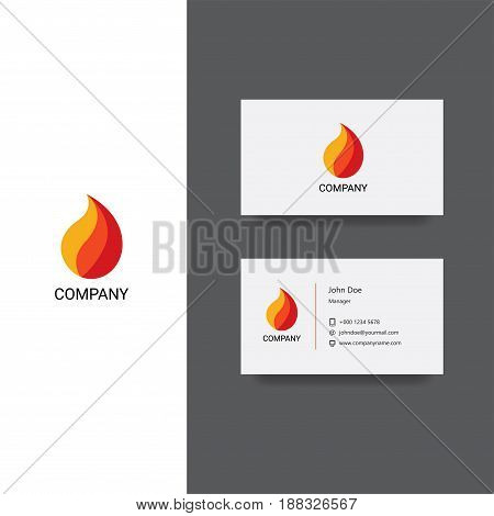 Vector eps logo design for fireplace services or store company, Business Card Template, icon design