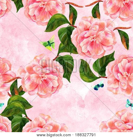 A seamless pattern with a vintage style watercolor drawing of a tender pink camellia flower in bloom, on a branch with green leaves, with teal and green butterflies, on a pastel texture