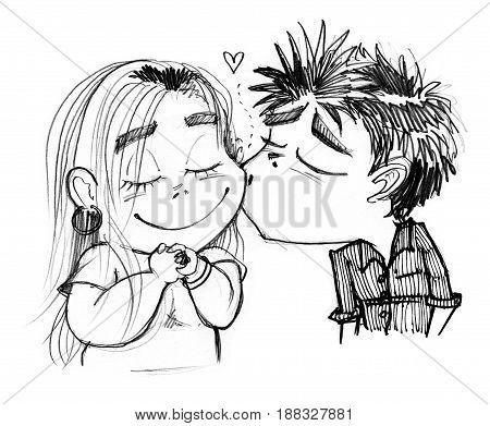 Boy kissing pretty girl cartoon character pencil sketch design black and white color.