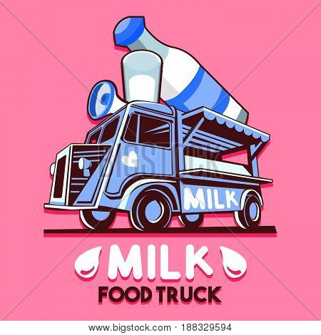 Food truck logotype for dairy milk bar fast delivery service or food festival. Truck van with dairy fresh milk advertise ads vector logo