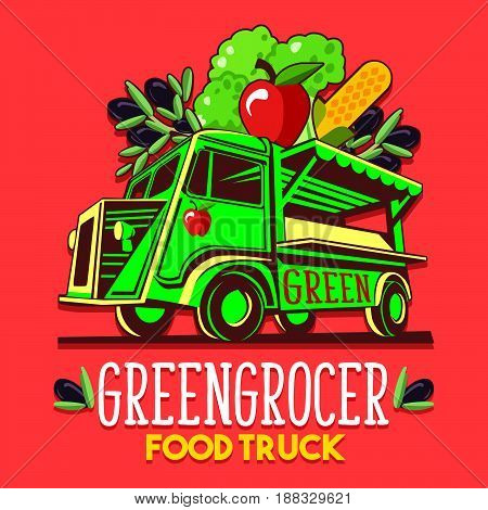 Food truck logotype for organic fruit vegetable seller greengrocer stand delivery service or summer food festival. Truck van with fruit and vegetable advertise ads vector logo