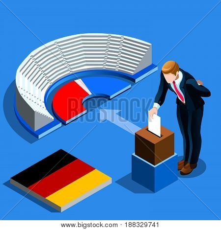 Germany election voting concept German man putting paper in the isometric ballot box. Isometric people vector design