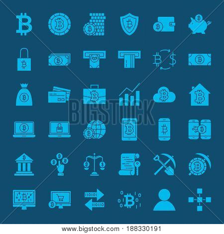 Bitcoin Glyphs Website Icons. Vector Set of Cryptocurrency Symbols.