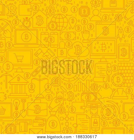 Bitcoin Yellow Line Tile Pattern. Vector Illustration of Outline Tile Background. Cryptocurrency Financial Items.