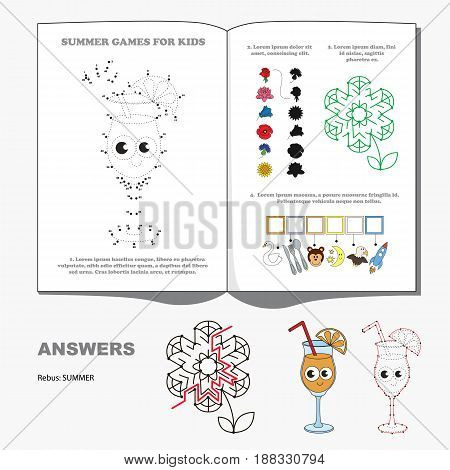 Summer Seasonal Page with kid games. Hidden word, maze way and find shadow playing. Dot to dot educational game for kids.