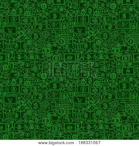 Green Line Bitcoin Seamless Pattern. Vector Illustration of Outline Tile Background. Cryptocurrency Financial Items.