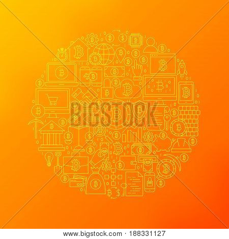 Line Bitcoin Icons Circle. Vector Illustration of Cryptocurrency Outline Objects over Blurred Background.