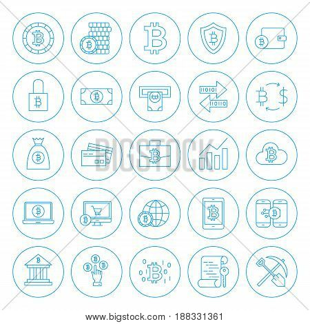 Line Circle Bitcoin Icons. Vector Illustration of Outline Cryptocurrency Objects.