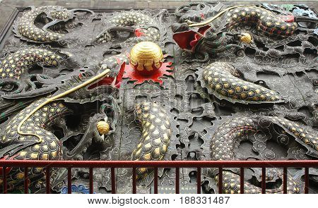 Dragons architecture in Wenwu Temple located at Sun Moon Lake Taiwan