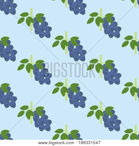 Blueberry Berry pattern on the blue background. Vector illustration