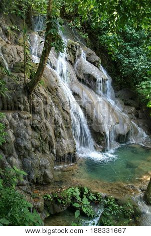 Waterfall In The Deep Forest Of Palenque