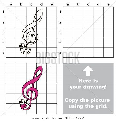 Copy the picture using grid lines, the simple educational game for preschool children education with easy gaming level, the kid drawing game with Funny Treble Clef