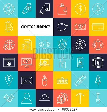 Vector Line Cryptocurrency Icons. Thin Outline Bitcoin Symbols over Colorful Squares.
