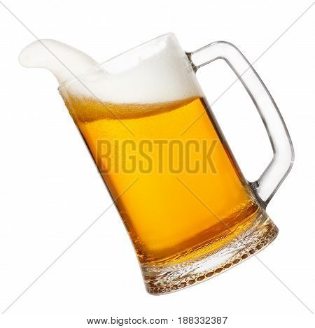 beer in mug with splashing foam isolated on white background. Beer splash. Pub alcohol drink