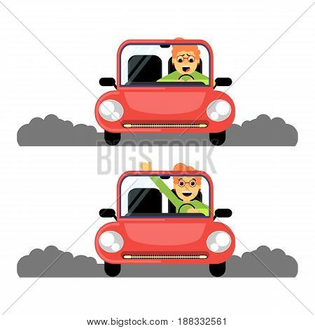 Woman first time behind the wheel of the red car. Caricature. Stock vector.