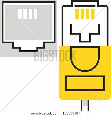 Color Box Icon, Internet Cable Illustration, Icon