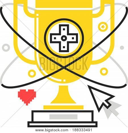 Color Line, Trophy Illustration, Icon