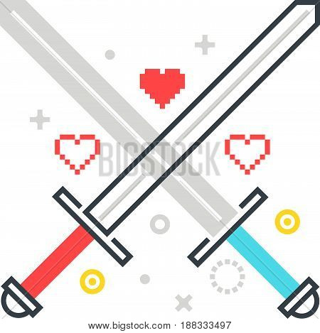 Color Line, Crossing Swords Illustration, Icon