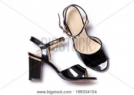 Black sandals isolated on white background isolation