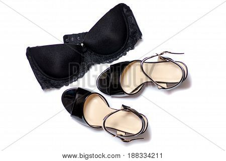 Sandals heel and bra on white background isolation