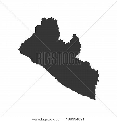 Liberia map silhouette on the white background. Vector illustration