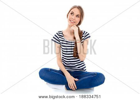 Student Girl, isolated over background. Education concept