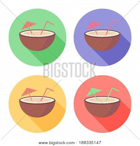 Coconut fruit with straw and umbrella on circle icon set in flat vector style isolated on the white background
