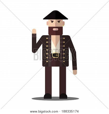 Vector male pirate with shadow in flat style isolated on the white background.
