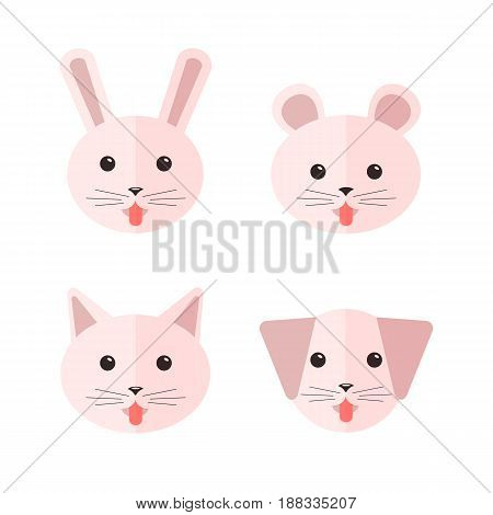 Vector flat animals showing their tongues: dog cat rabbit and hamster. Icon set.