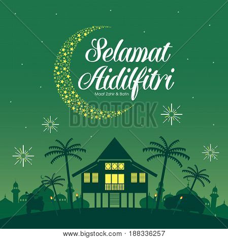 Selamat Hari Raya Aidilfitri illustration with traditional malay village house / Kampung. Caption: Fasting Day of Celebration