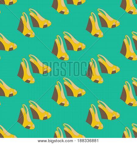 Shoes Sandals Platform pattern on the green background. Vector illustration