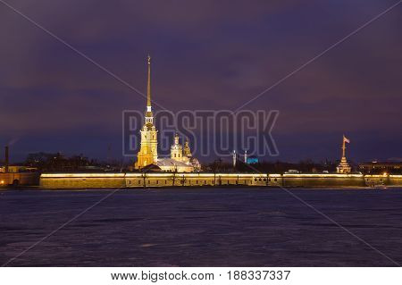 The Peter and Paul fortress in the night Saint Petersburg Russia