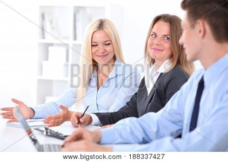 Business people at meeting. Success communication concept