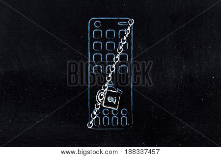 Remote Control With Lock And Chain