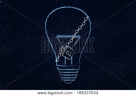 lightbulb with lock and chain, concept of protecting your copyright