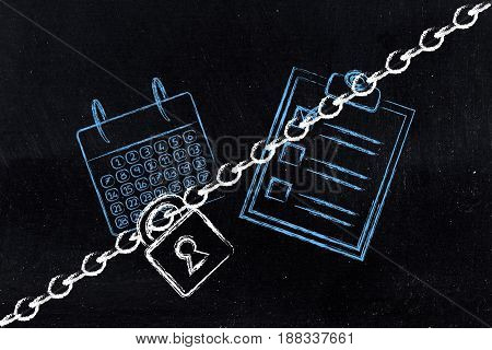 Calendar And To Do List With Lock And Chain