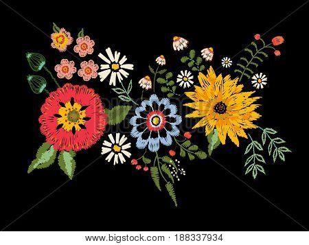 Embroidery native pattern with fantasy flowers. Vector embroidered traditional floral bouquet. Tribal style design for fashion wearing.