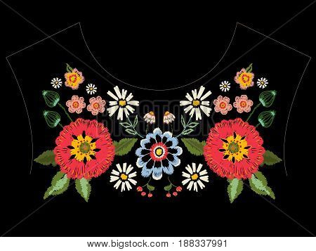 Embroidery native neckline pattern with poppies and fantasy flowers. Vector embroidered traditional floral design for fashion wearing.