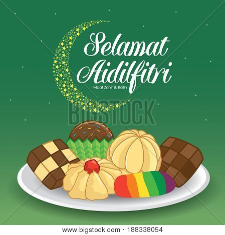 Selamat Hari Raya Aidilfitri illustration with traditional Kuih Raya. Caption: Fasting Day of Celebration