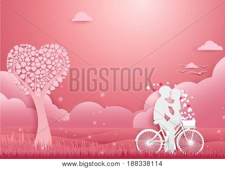Paper art Couple on bicycle concept romantic love. Valentines day background
