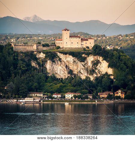 Rocca di Angera castle square format Lake Maggiore sunset Lombardy region Italy