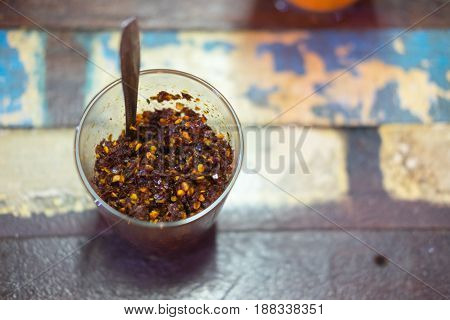 Closeup Chilli powder Asian ingredient flavouring for eating