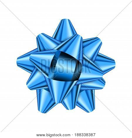 Blue holiday bow on white background. Vector illustration for your design