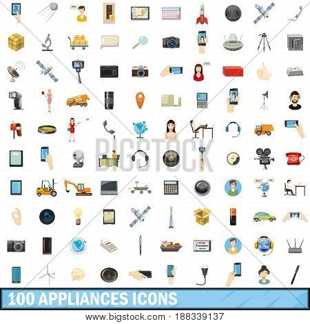 100 appliances icons set in cartoon style for any design vector illustration